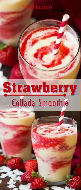 Strawberry Colada Smoothie Recipe #Drink #Smoothie