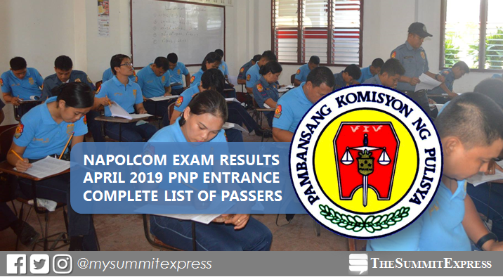 LIST OF PASSERS: PNP Entrance April 2019 NAPOLCOM exam result