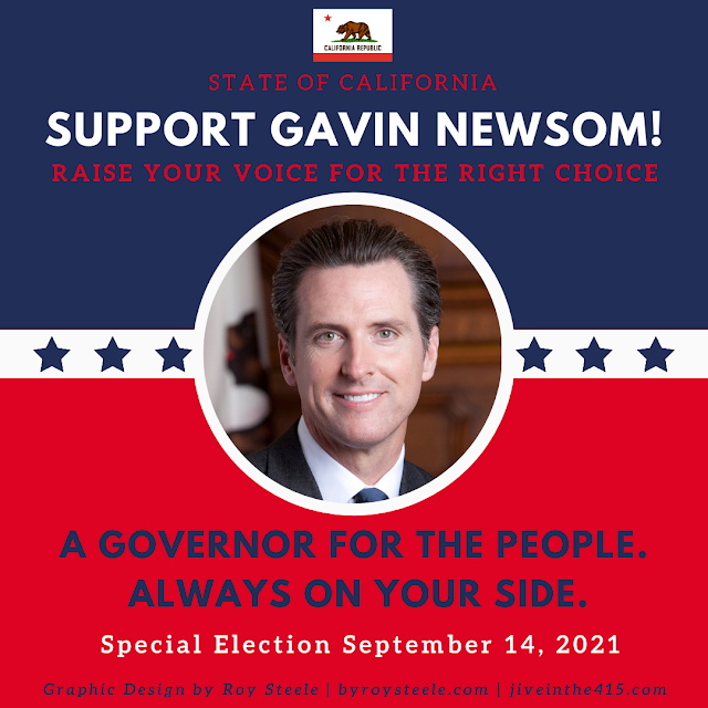 """An image optimized for Instagram that says """"Support Gavin Newsom"""""""