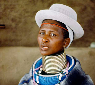 South African woman wearing Ndebele neck rings
