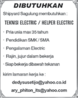 Lowongan Kerja Teknisi Electric/Helper Electric
