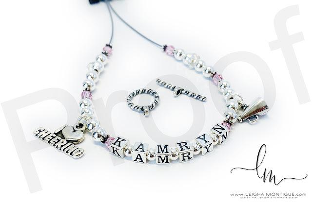 Cheer Charm Bracelet for Kamryn - Megaphone Charm & I Heart Cheering Charm
