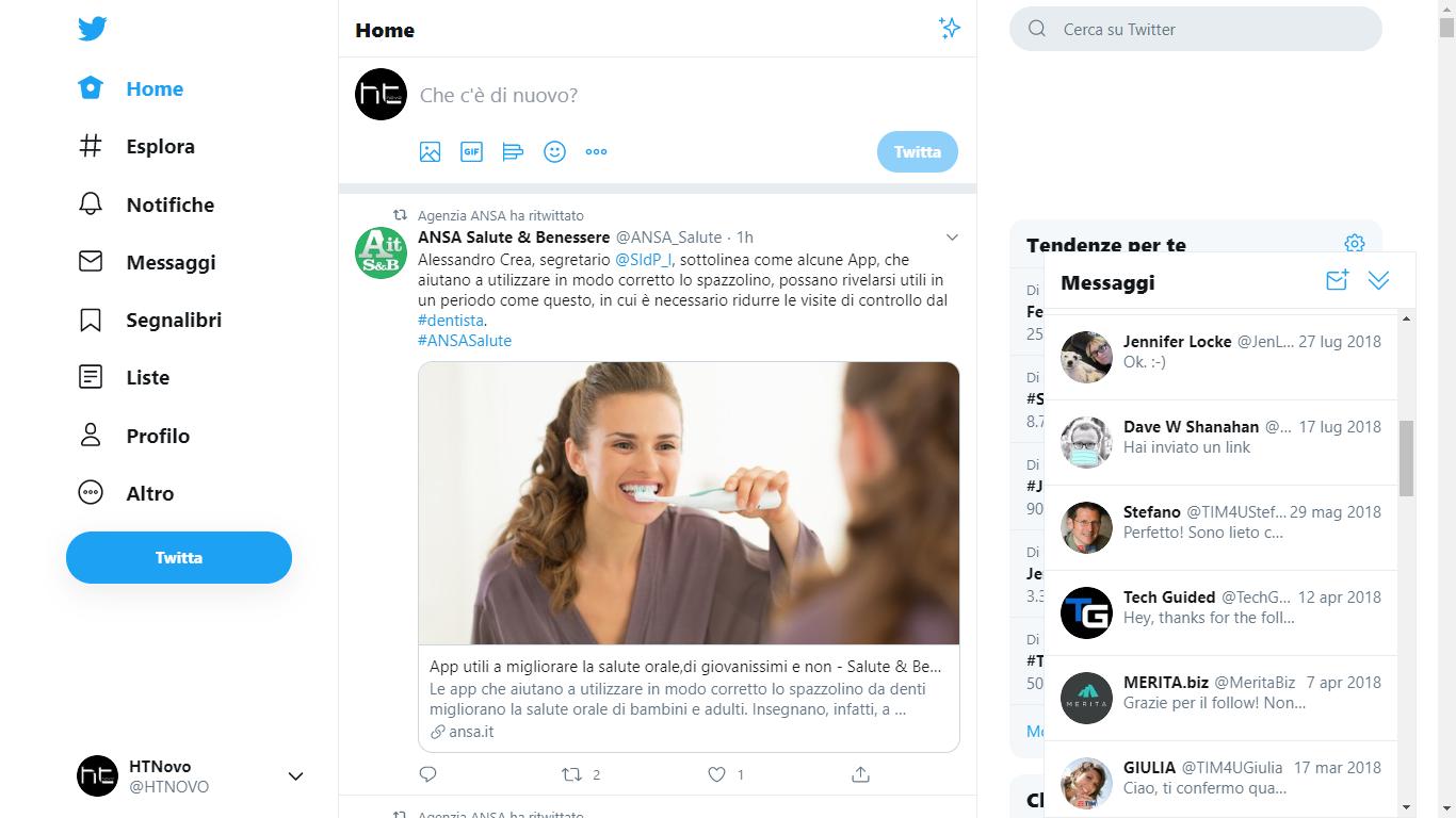 Messaggi in stile chat in distribuzione su Twitter
