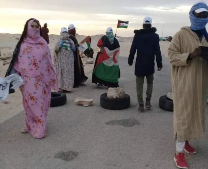 دفاعا عن سيادة القانون، محتجون صحراويون يمنعون عبور سباق ''أفريكا إكو راس'' لثغرة الكركرات.