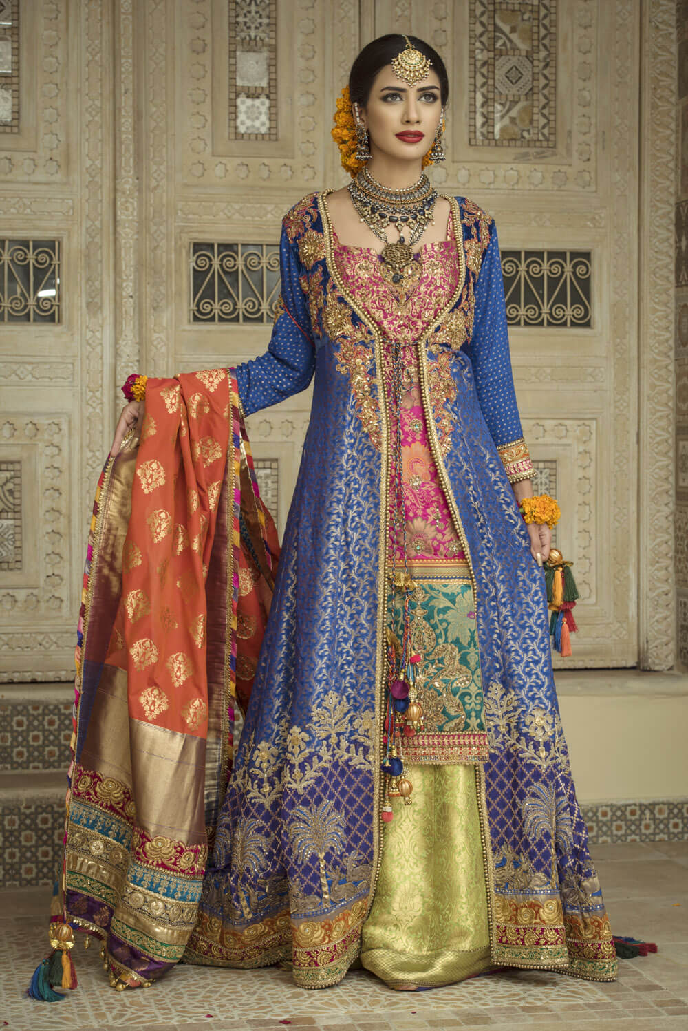 Multi Color Mehndi Outfit
