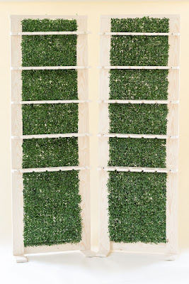 At Last Wedding + Event Design champagne hedge wall rentals
