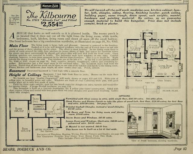 catalog layout and description, Sears Kilbourne 1923 sears modern homes catalog