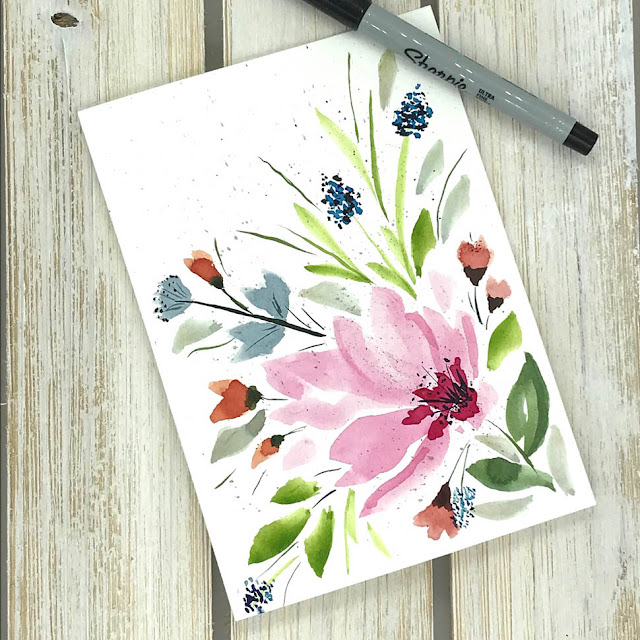 Watercolor Florals Card by Thistle Thicket Studio. www.thistlethicketstudio.com