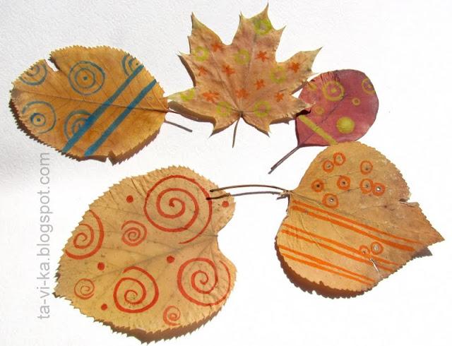 рисунки на листьях