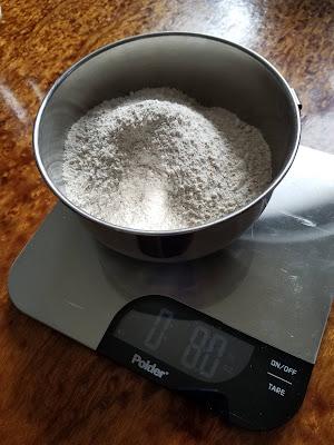Making Welsh Tea Cake, start with weighing ingredients.