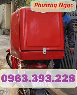 Thùng giao hàng sau xe máy, thùng chở hàng cỡ lớn, thùng chở cơm hộp,