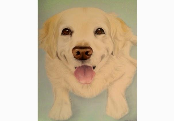 Pet Portrait Golden Retriever oil on canvas