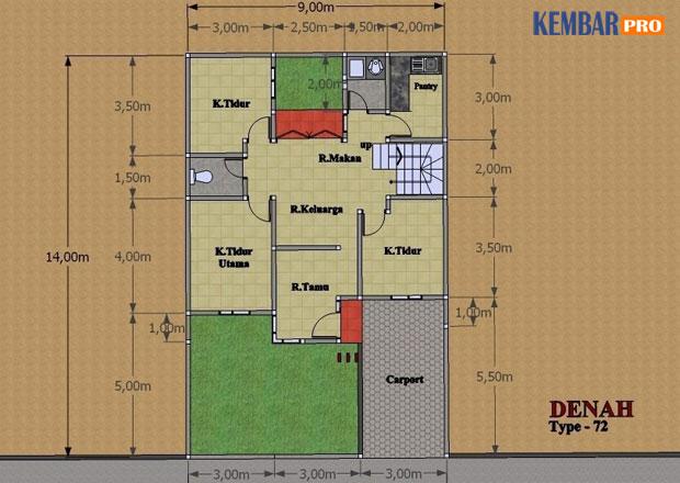 Rumah Minimalis-Gambar Denah Lantai Bawah Type 150