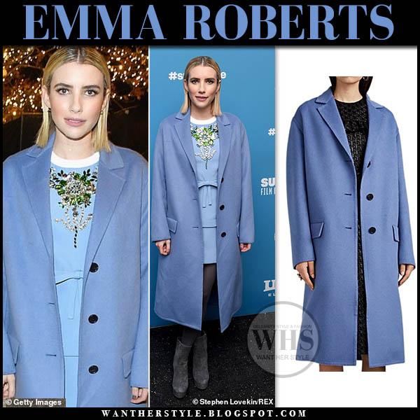 Emma Roberts in pastel blue prada coat and blue mini dress sundacne film festival style 2019