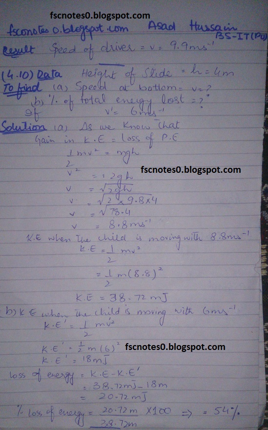 F.Sc ICS Notes: Physics XI: Chapter 4 Work and Energy Numerical Problems by Asad Hussain 8