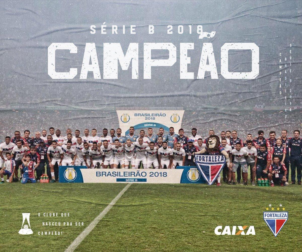 O Fortaleza com o título de campeão brasileiro da Série B 2018 (foto FEC)  ganha vaga direto na Copa do Brasil 2019 em sua oitavas de final. 7acc5f3ba2c25