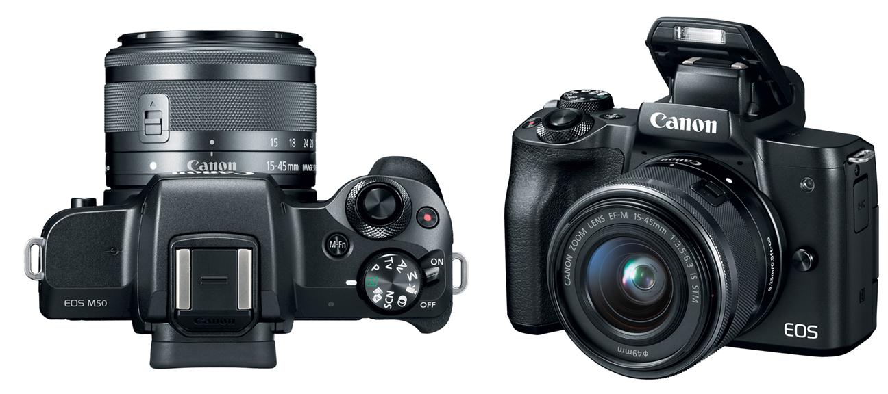 Canon EOS M50, вид сверху и вид спереди