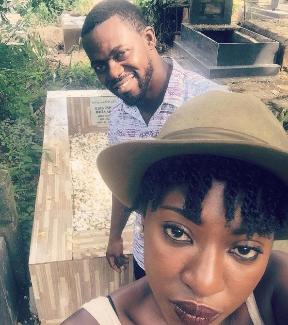 Yvonne Jegede and fiance Kunle visit late Bukky Ajayi's grave