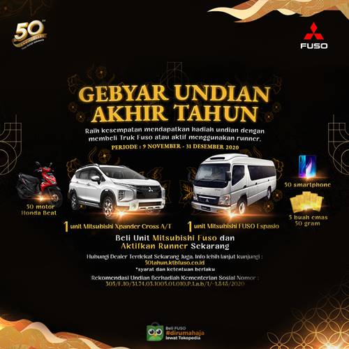 Gebyar Undian Mitsubishi Fuso Berhadiah Mobil Xpander, 50 Honda Beat, 50 Smartphone