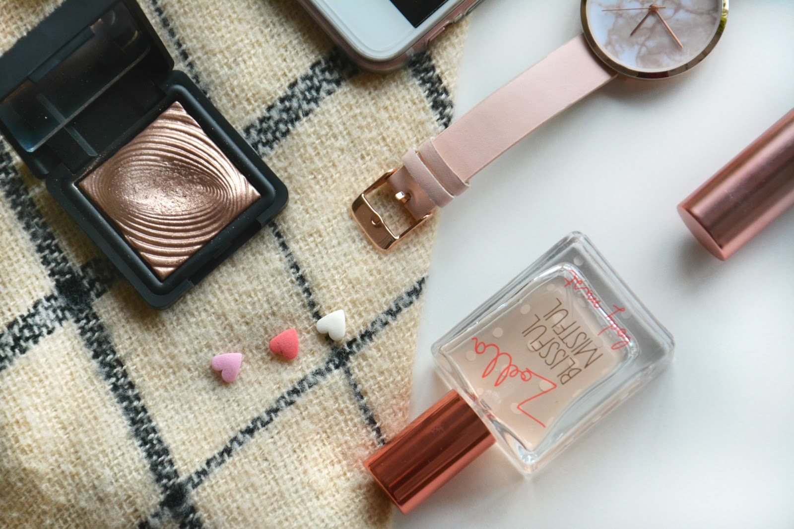 Kiko Eyeshadow, Asos Watch, Zara Scarf, Zoella Blissful Mistful Body Mist