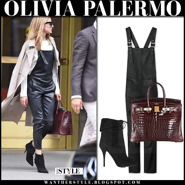 Olivia Palermo in black leather maison de reefur overalls, beige trench coat and black suede ankle boots aquazzura what she wore