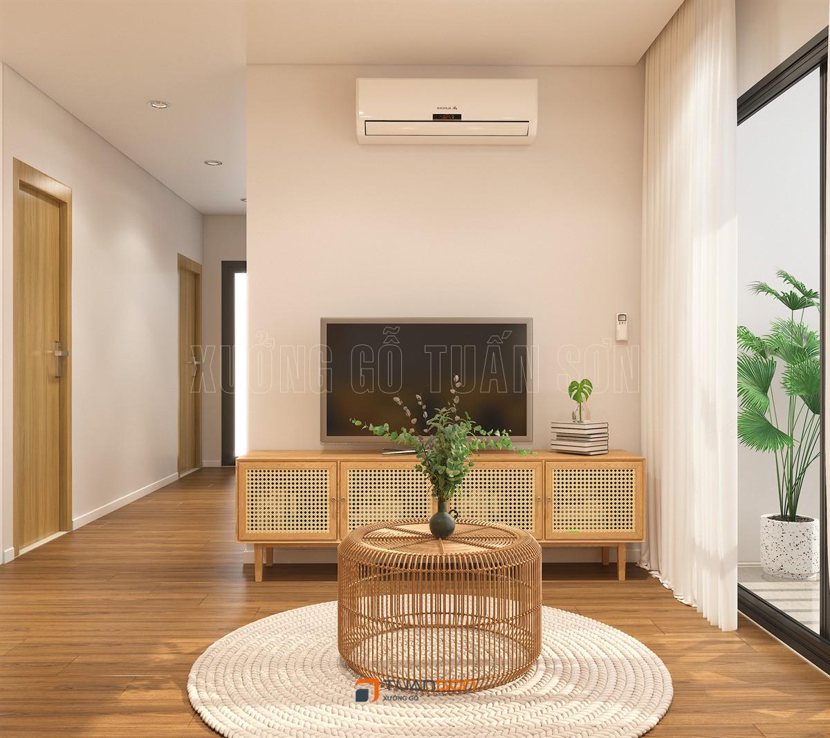 Mẫu thiết kế nội thất phòng khách căn 3PN Vinhomes Ocean Park đẹp nhất