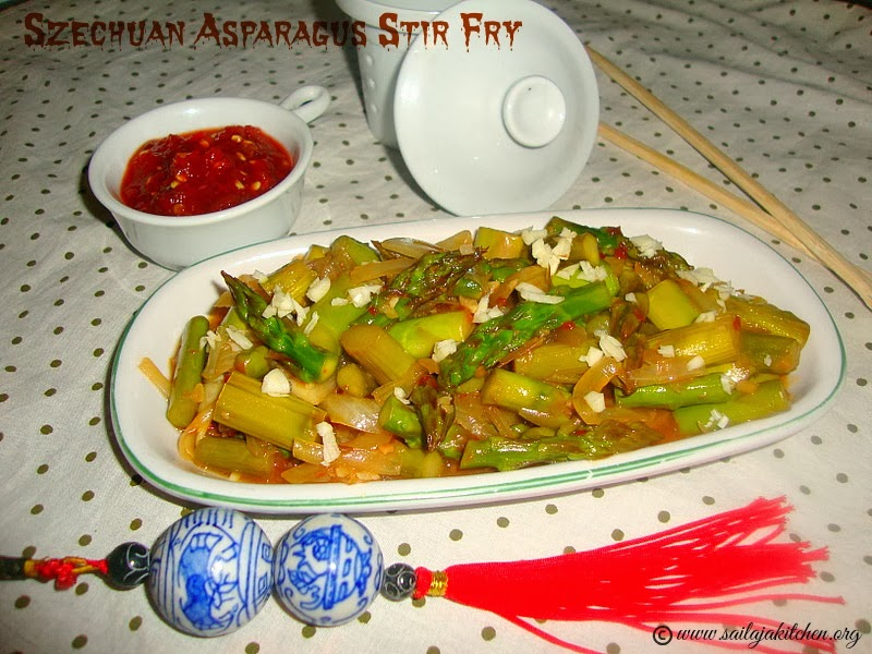 Szechuan Asparagus Stir Fry / Sichuan Style Asparagus Stir Fry recipe/ Asparagus Stir Fry Sichuan -Style