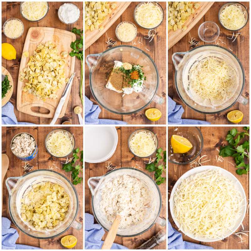 Six photos of the process of making Low Carb Artichoke Crab Dip.