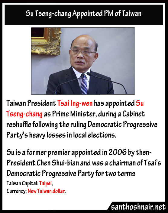 Su Tseng-chang appointed PM of Taiwan