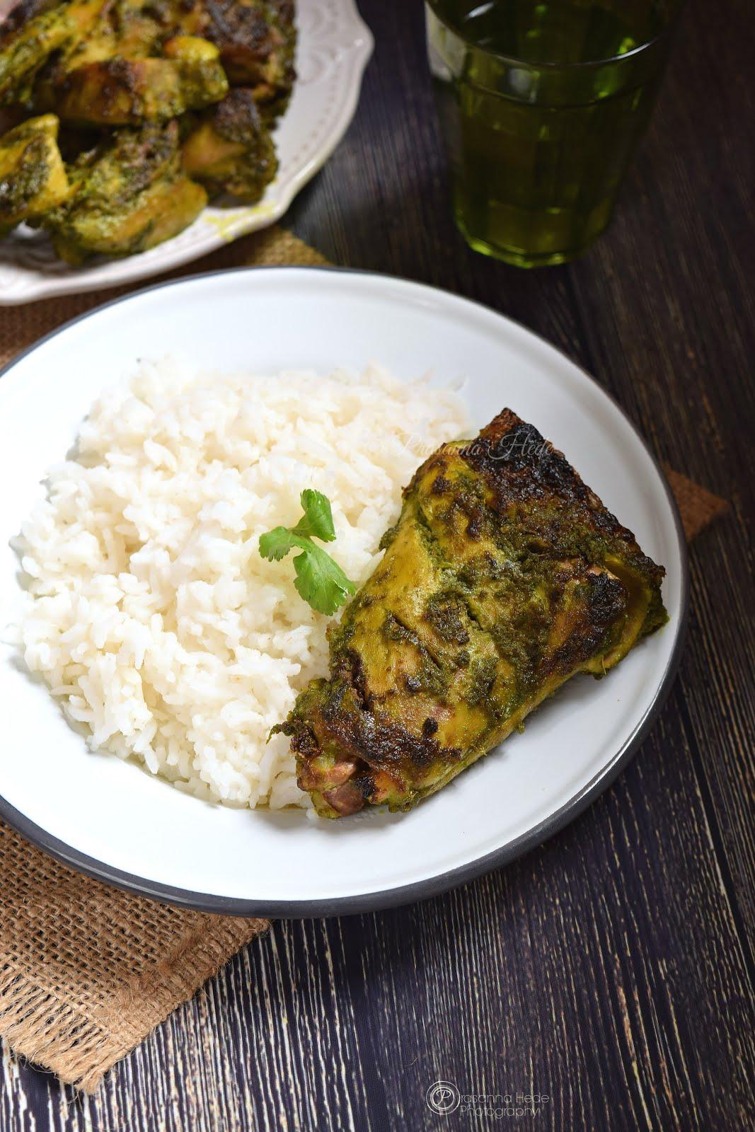 Hariyali CHicken Fry Oven Grilled Tikka Kabab Kabob