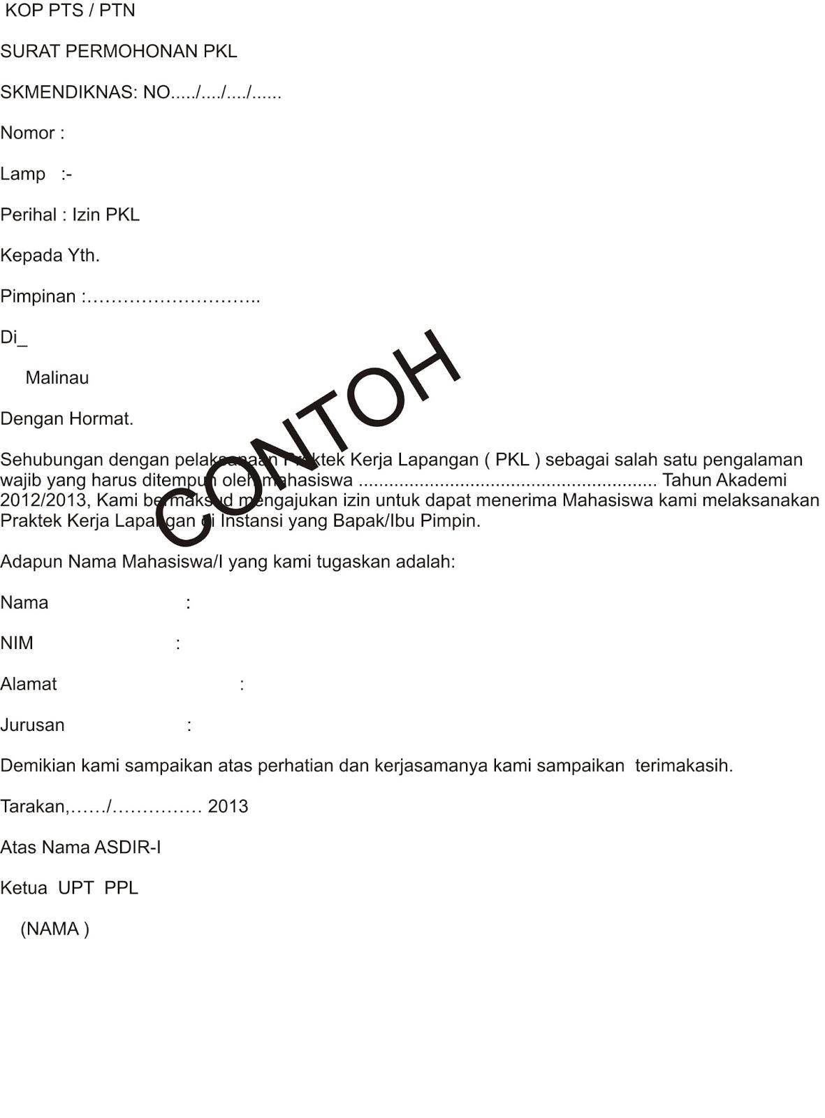 Contoh Surat Permohonan PKL  ABATA KALTARA