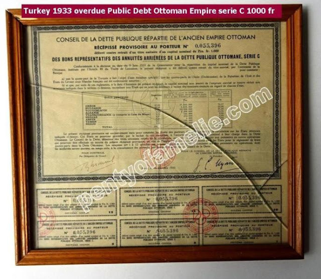 Paris 1933 Turkey Overdue Public Debt Ottoman Empire Serie C 1000F