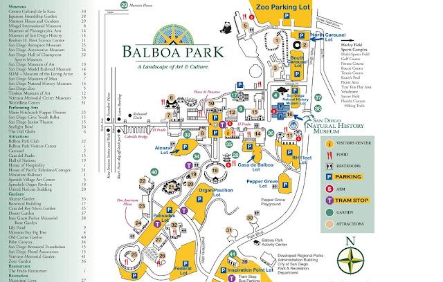 Informações sobre o Balboa Park em San Diego