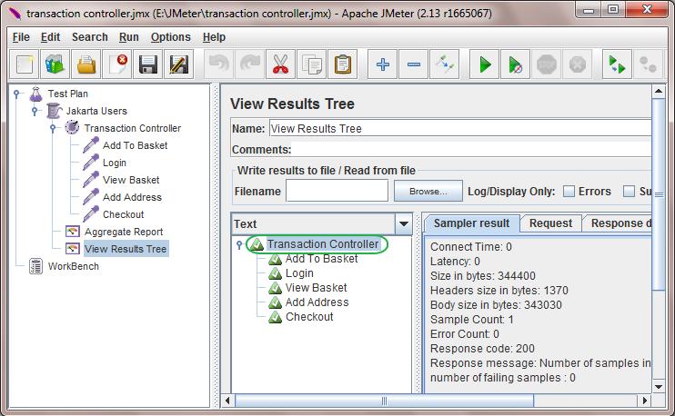 Jmeter Transaction Controller Example