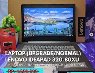 "Laptop LENOVO IDEAPAD 320-80XU AMD A9-9420 RAM 4 GB SSD 120GB + HDD 500GB 14"" Bergaransi 30 Hari"