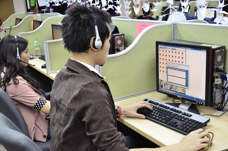 Call center agents on the job