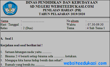 Soal PH Kelas 2 Tema 4 Kurikulum 2013 Terbaru