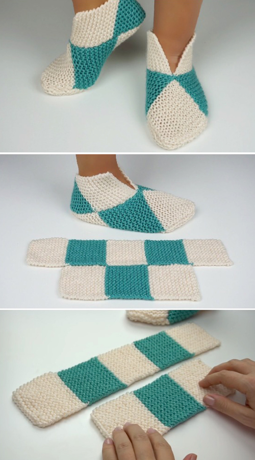 Easy to Fold Slippers  - Knitting Tutorial
