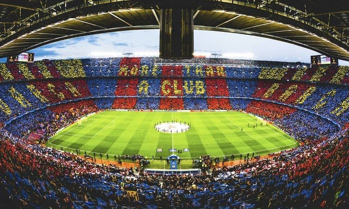 """Camp Nou"", located in Barcelona, Spain is the third largest football stadium in the world by capacity."