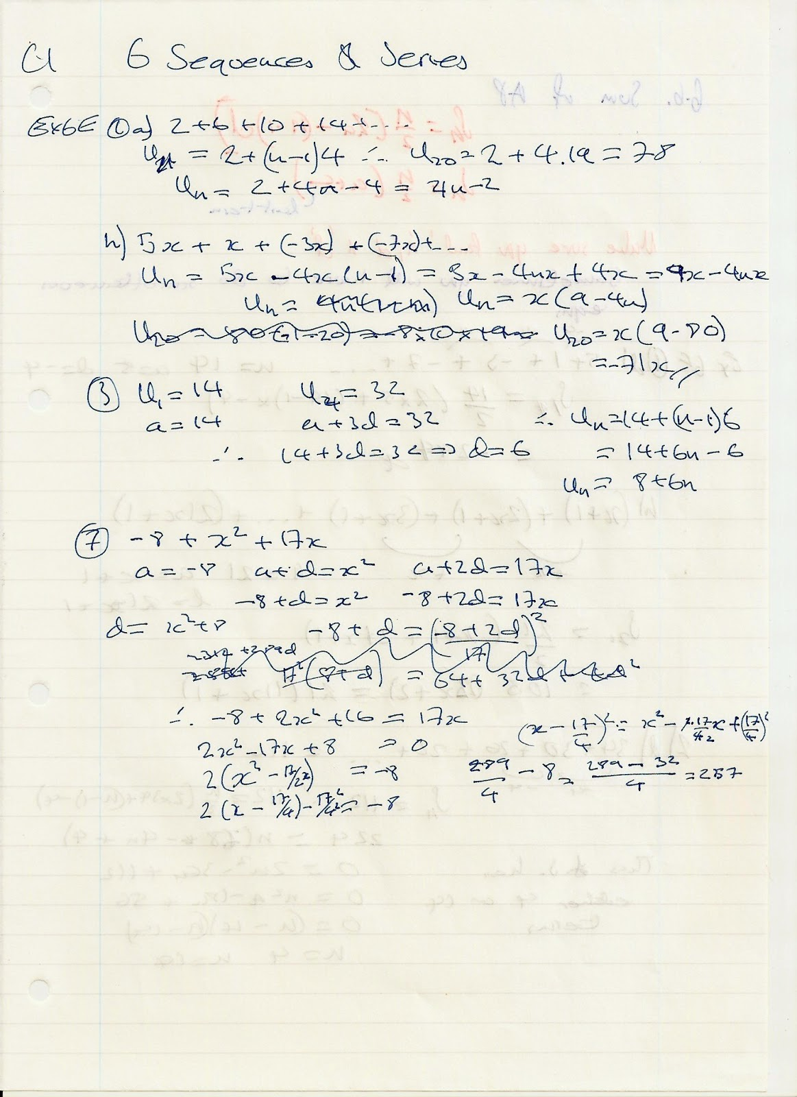 A Level Maths Notes Edexcel C1 6 Sequences And Series