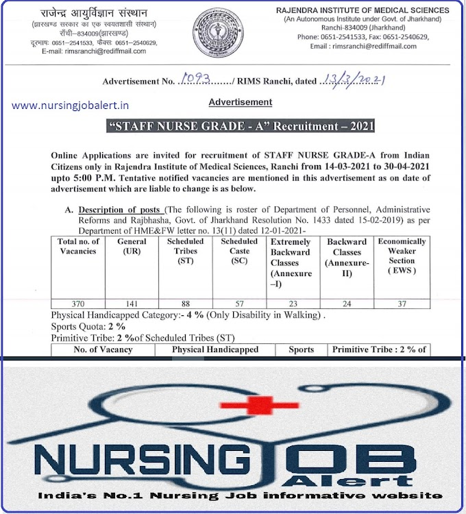 Staff Nurse Vacancy for RIMS Ranchi How to Apply