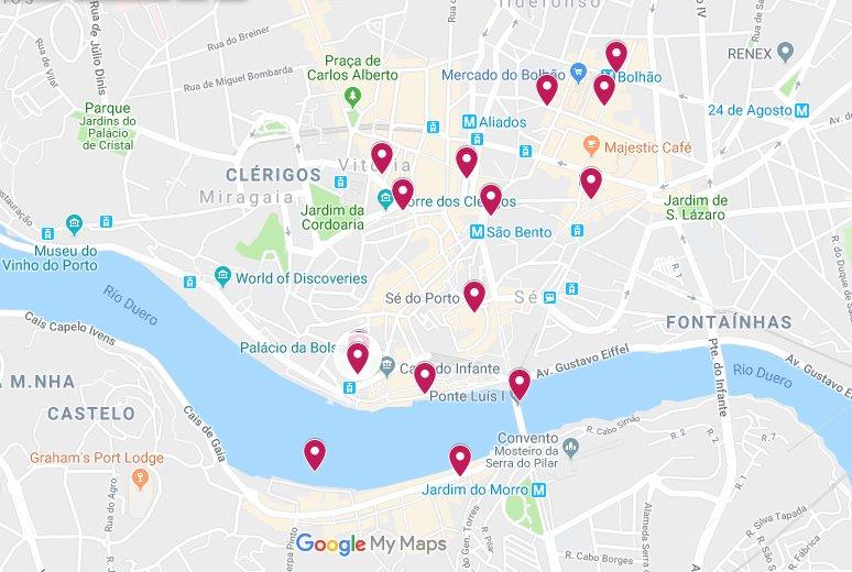Mapa con las 12 cosas que hacer y que ver en Oporto