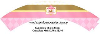 Carrusel en Rosa: Wrappers y Toppers para Cupcakes para Imprimir Gratis.