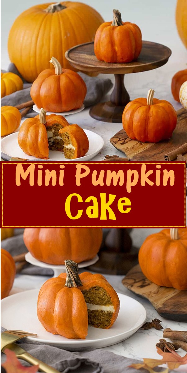 Mini Pumpkin Cake #halloweenrecipes