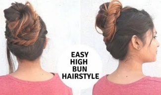 Easy High Bun Hairstyle For Medium To Long Hair / Everyday Hairstyle