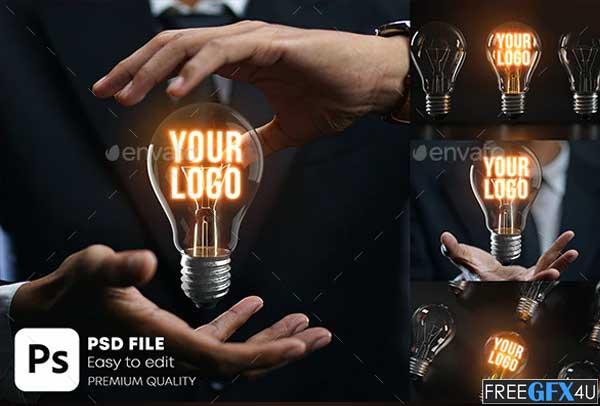 Glowing Bulb Logo Mockup Pack