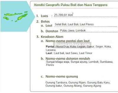 Kondisi Geografis Pulau Bali dan Nusa Tenggara Berdasarkan Peta