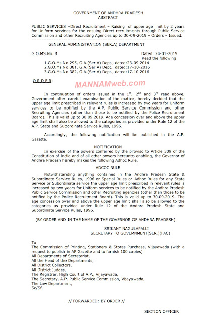 Direct Recruitment – Raising of upper age limit by 2 years for Uniform services for the ensuing Direct recruitments through Public Service Commission and other Recruiting Agencies up to 30-09-2019 – Orders – Issued.,GO.8,Dt.24/1/2019