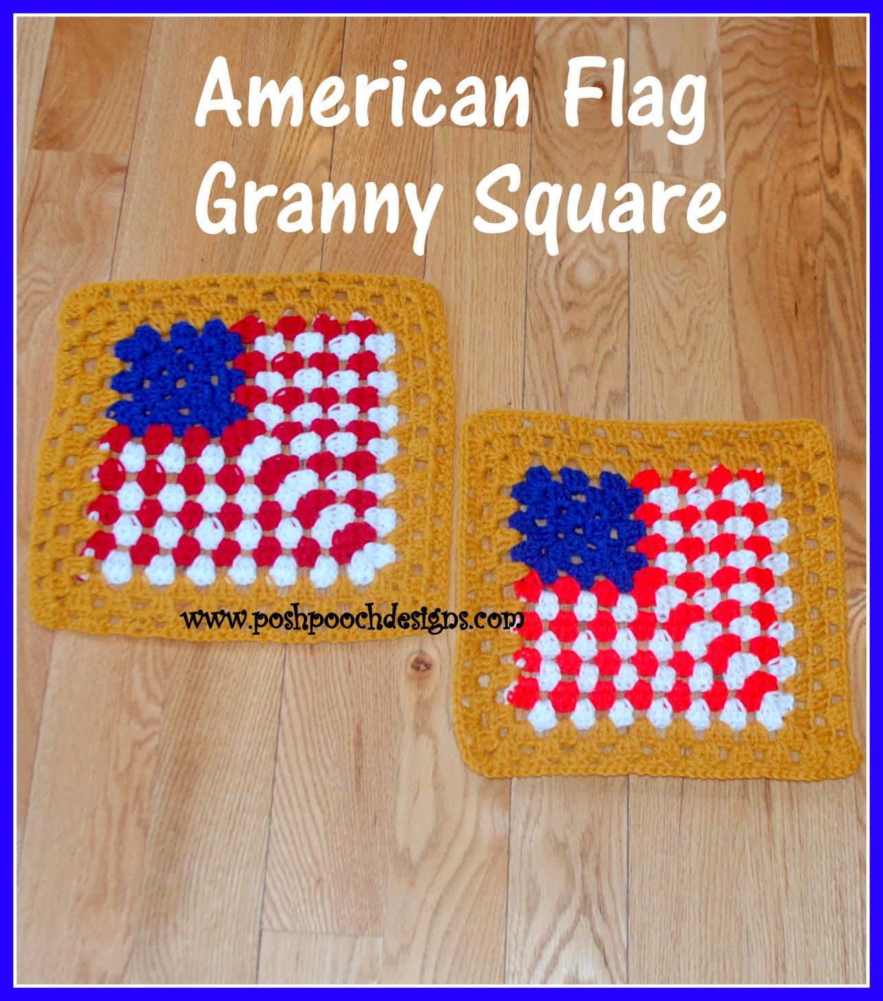 Posh Pooch Designs Dog Clothes American Flag 12 Inch Granny Square