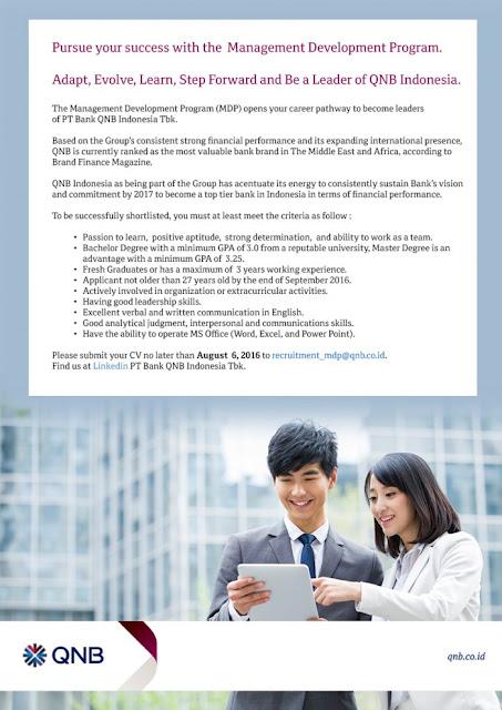 Lowongan kerja resmi PT Bank QNB Indonesia